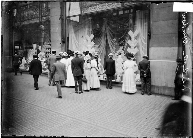 People looking into a Marshall Field & Co. department store window, ca. 1910