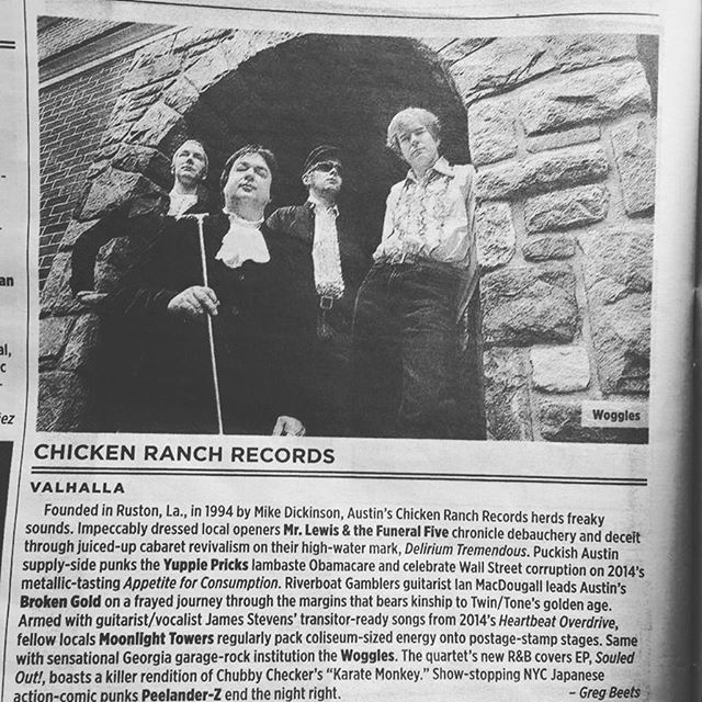 SXSW showcase tomorrow night! Much thanks to the @austinchronicle for the words and to our label @chickenranchrecords for putting out our records and having us on the showcase. Just glad we don't have to follow The Woggles. We're on at 11, but get there early!