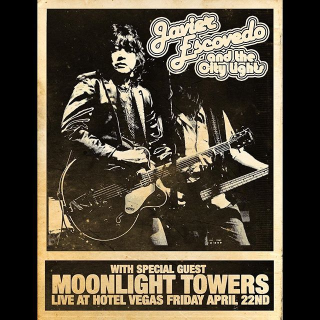 Tonight it's on at Hotel Vegas!  10:30 - Javier Escovedo 12:00 - Moonlight Towers  We've got a couple of surprises in store. $5