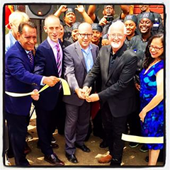 Mott & Brian (middle) at the L.A. Prep/L.A. Kitchen ribbon cutting ceremony