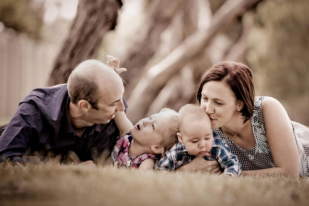 Beautiful candid young family portrait