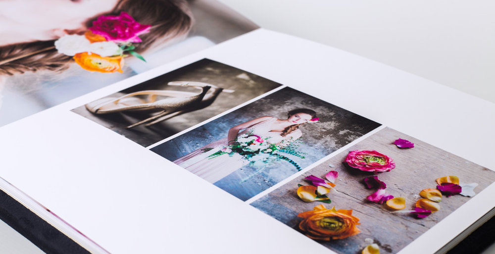 Albums are custom designed, beginning with the favourite images you choose - Cloud previews and unlimited edits/changes prior to printing