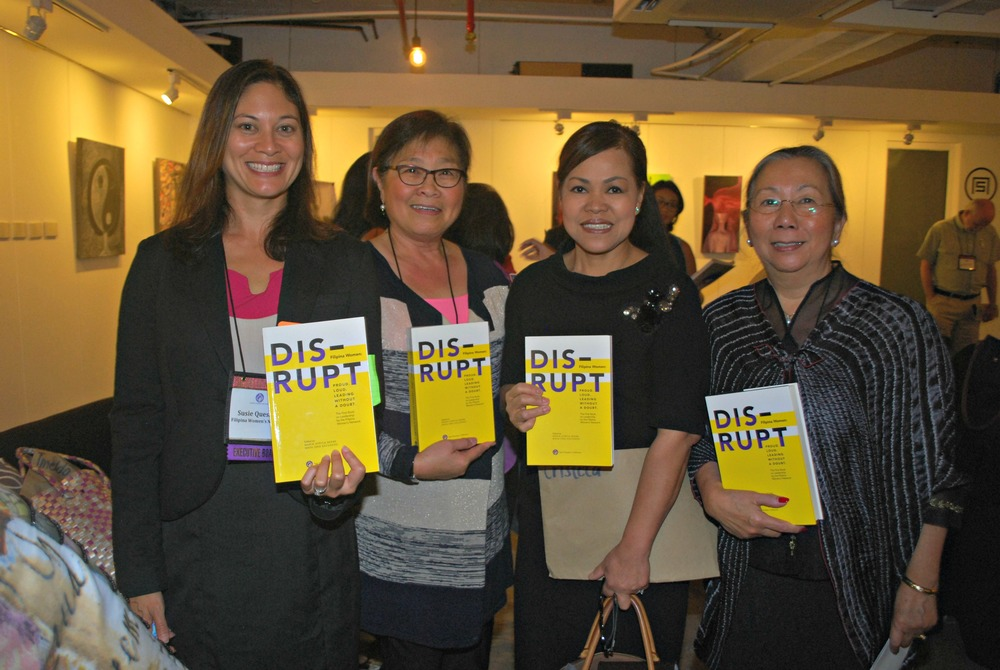 "From left: Susie Quesada, FWN President and President of Ramar Foods International; Maya Escudero, ""DISRUPT"" managing editor and FWN board member; Cris Comerford, Executive Chef of The White House; and Maria Beebe, ""DISRUPT"" chief editor and FWN board member. At the book launch and press conference for ""DISRUPT. Filipina Women. Proud. Loud. Leading Without A Doubt."" on October 6, 2014. (Photo by Jonathan Largadas)"