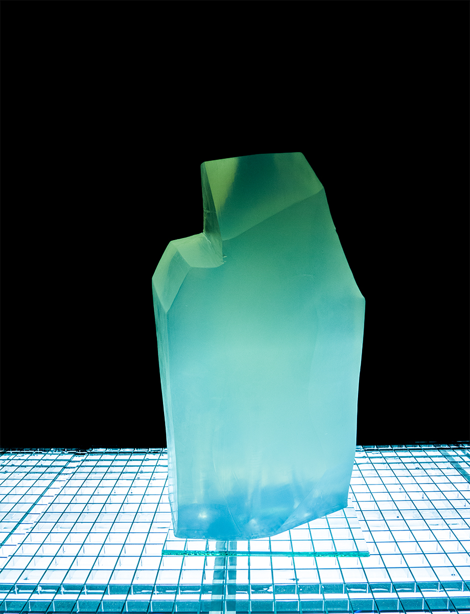 Crystalline Crimes   2015  carved glycerine, steel, fluorescent light, glass