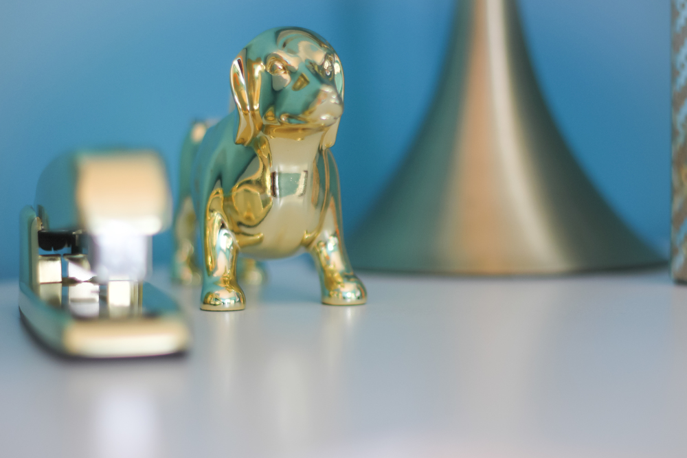 I can't even describe the level of excitement that I had when I found this gold dog tape dispenser at  Target!