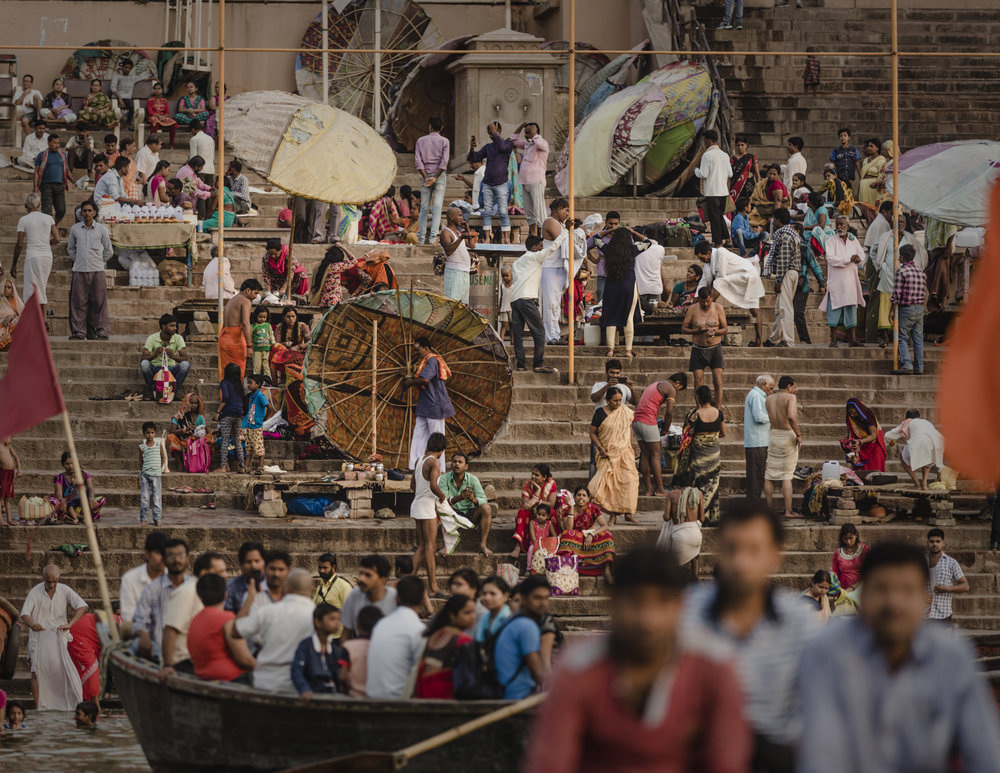 The banks of the Ganges is a bright and festive place of worship and bathing.