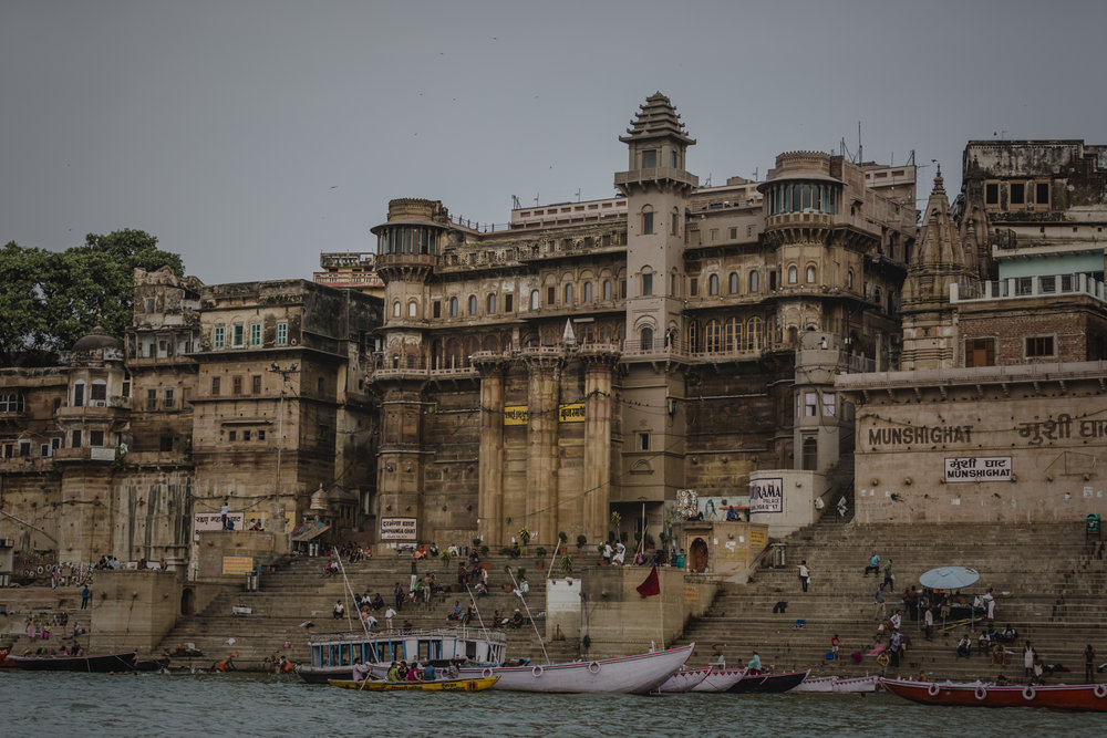 A view of Varanasi from our Sunrise boat tour down the Ganga.