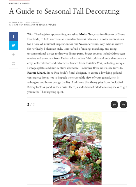 "VOGUE MAGAZINE, ""A Guide to Seasonal Fall Decorating"" October 2014"