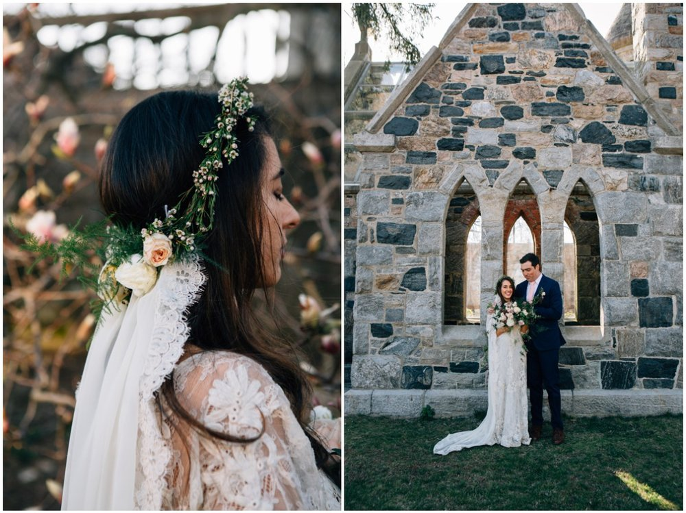Nancy wore the Gabriella veil we created for her, a vintage dress from Gossamer and a lush bouquet with wild jasmine.