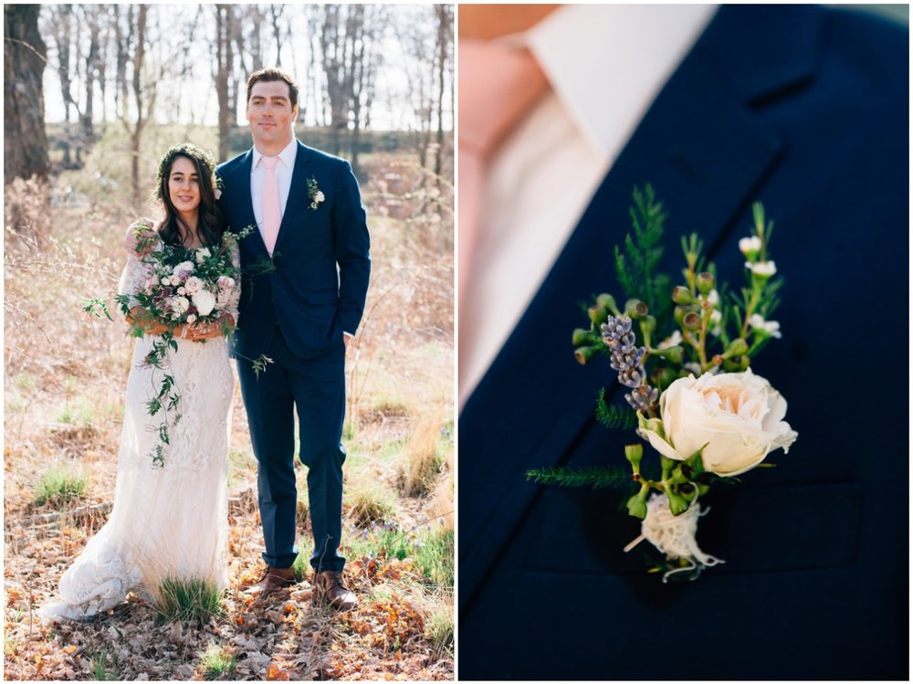 Shane's boutonniere was made with spray rose, fern and lavender clipping and wax flowers to compliment Nancy's bouquet and crown.