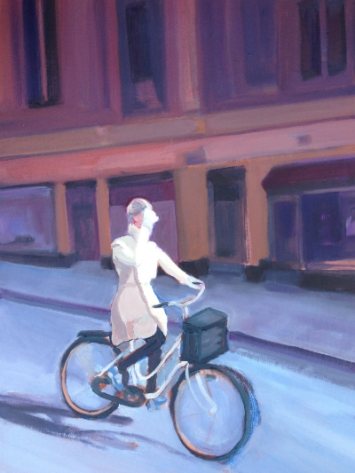 Girl on Bike Stockholm 2014 24X36 oil on canvas