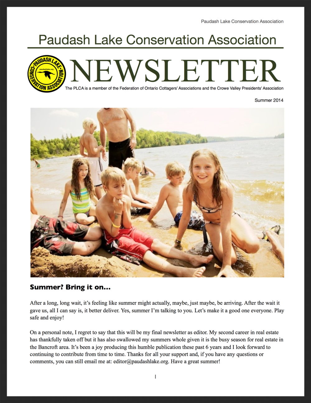 PLCA Newsletter, summer 2014