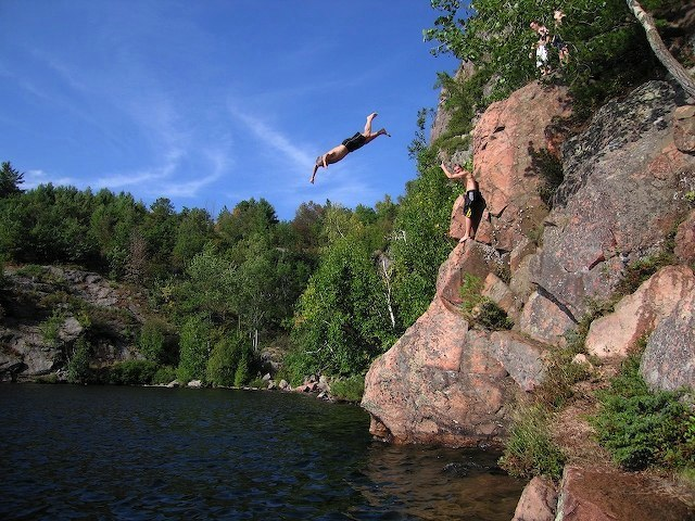 Diving at North Bay, Paudash Lake, by Chris Gualtieri
