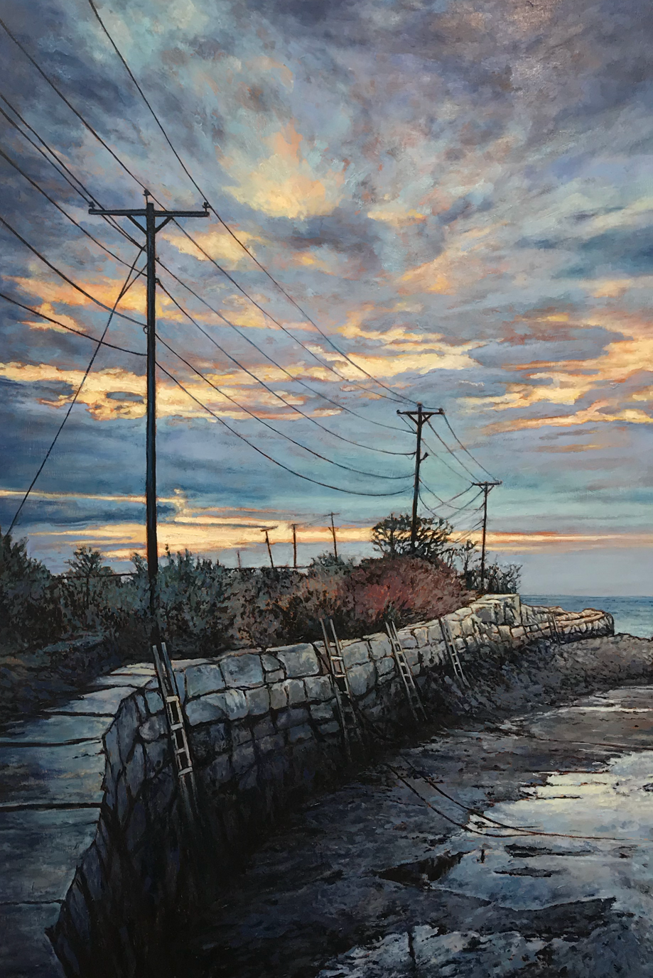 "Detail: Hodgkin's Cove - Bayview / Gloucester MA, 30"" x 30"", Oil on panel  Above: Independence Park 24"" x 24"", Oil on panel"