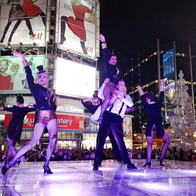 Check out #qbcteacher @skr.yoga.wellness in her #1stProfeasionalGig dancing for the 🌲 lighting ceremony at Dundas Square hosted by @creativiva (can you 👀 any other #qbc teachers?) #tbt #professionaldancer #dance #danceducator #Torontodance