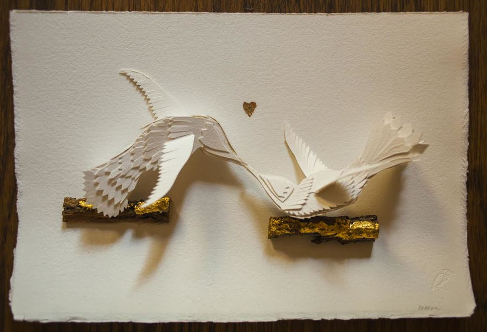 """""""Love Birds"""" wedding gift, approx 6.5 x 8 inches"""