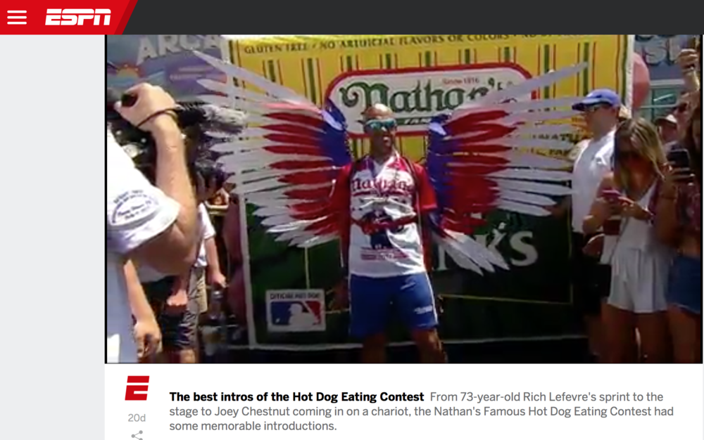 As seen on  ESPN  (2017), these kinetic wings were created for the Fourth of July Nathan's Famous Hot Dog Eating Contest on Coney Island. Click below to watch the video.