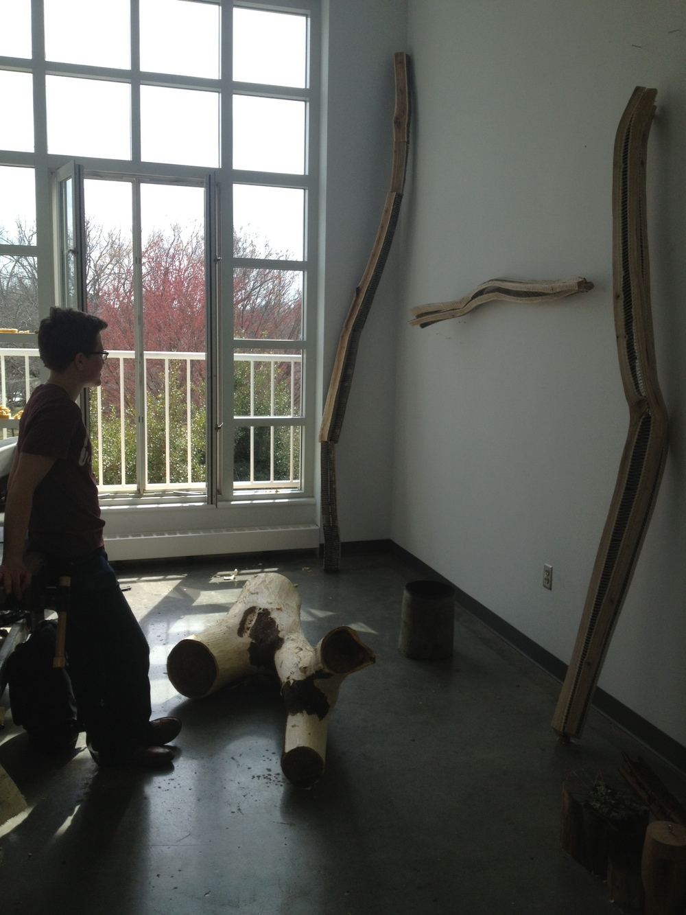 Leah Smith ('13) in her studio with sculpture.JPG