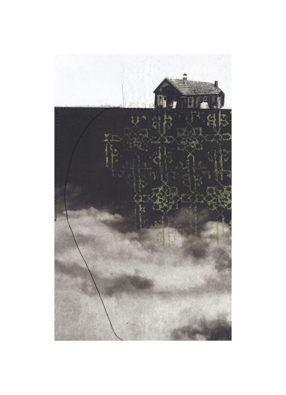 "Cottage No. 10  Intaglio, screen print, chine colle, thread 15"" x 11"", 2012"