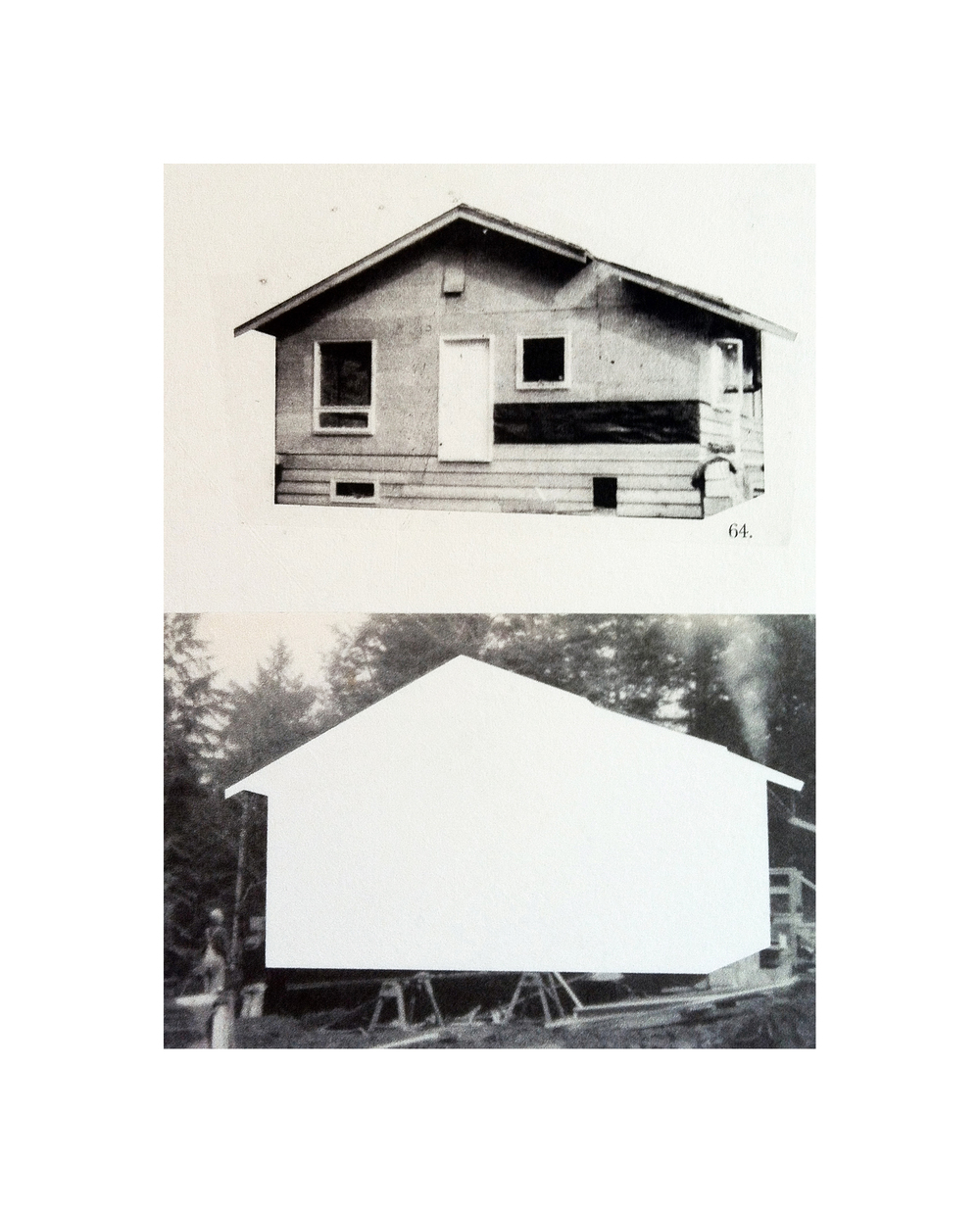 "Cabin Cutouts: B. Davies house on Grafton Rd     Intaglio, digital, chine coll  é       15""x11"" 2013"