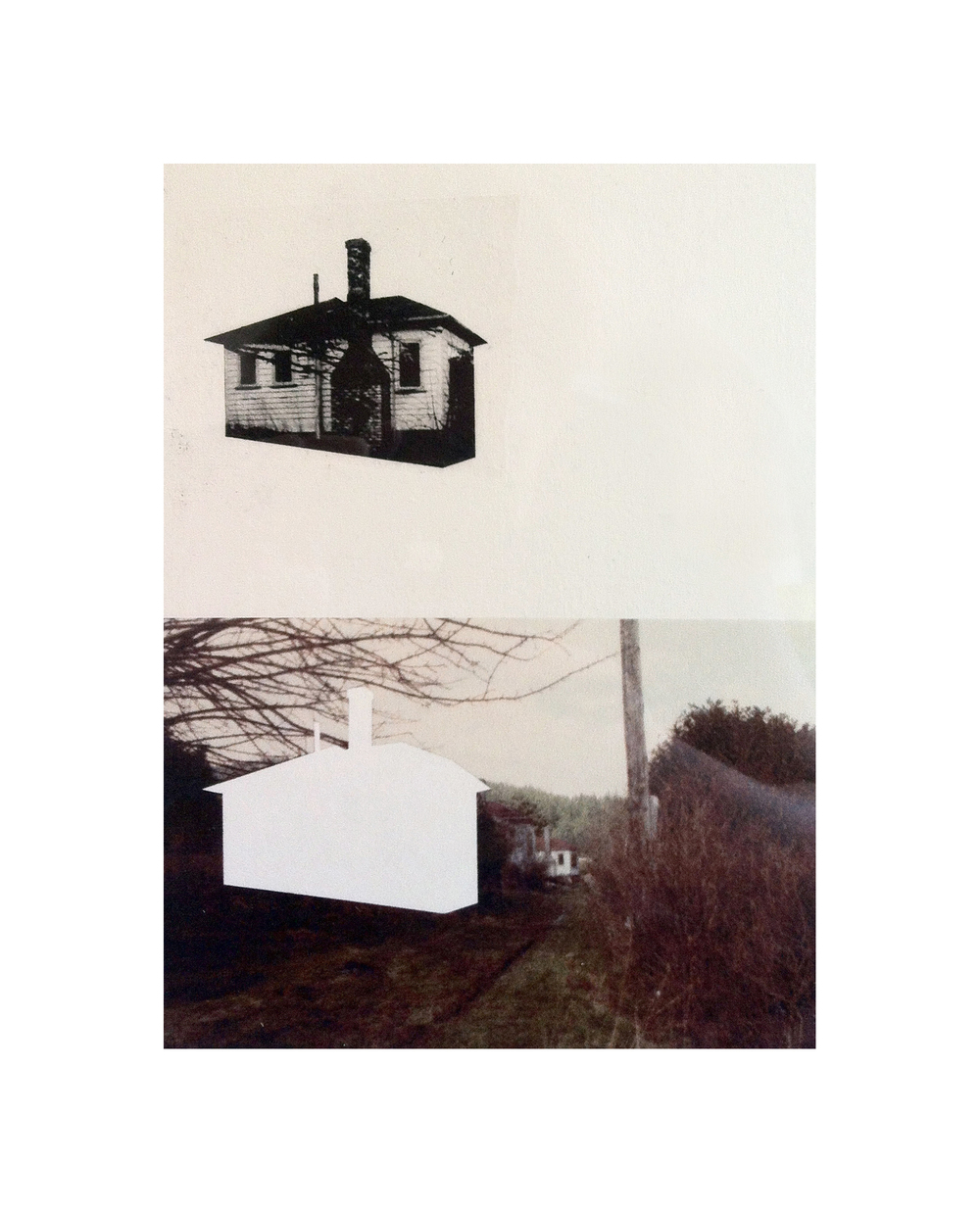 "Cabin Cutouts: Union Steamship Cottages     Intaglio, digital, chine coll  é       15""x11"" 2013"