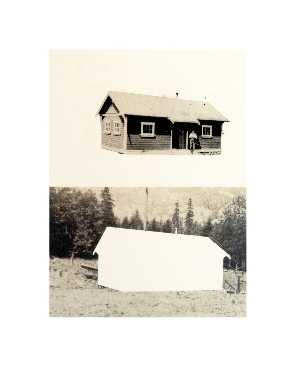 "Cabin Cutouts: Cottage No. 10 in the Orchard     Intaglio, digital, chine coll  é       15""x11"" 2013"