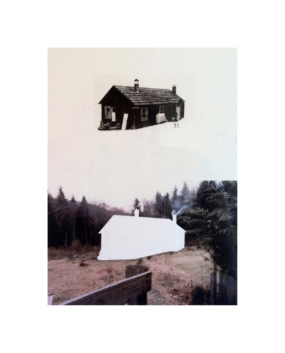 "Cabin Cutouts: Harding family homestead     Intaglio, digital, chine coll  é       15""x11"" 2013"