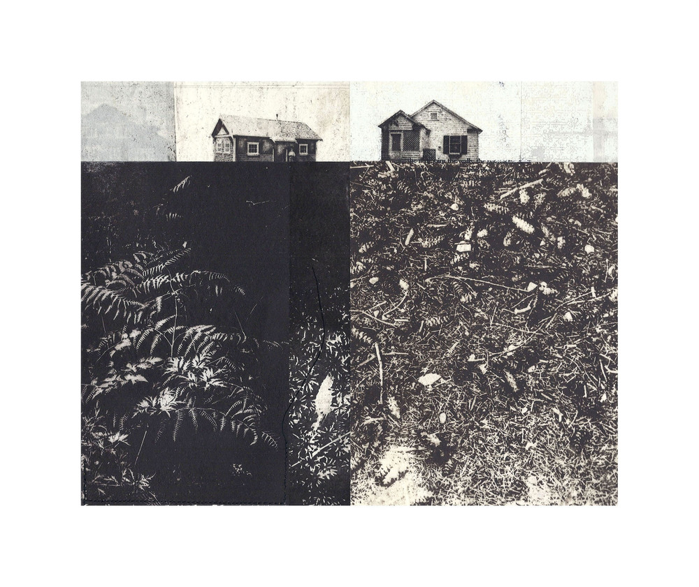 "Mayell Cottage and Caretakers Cottage  Intaglio, screen print, chine colle, thread 15"" x 16"", 2012"