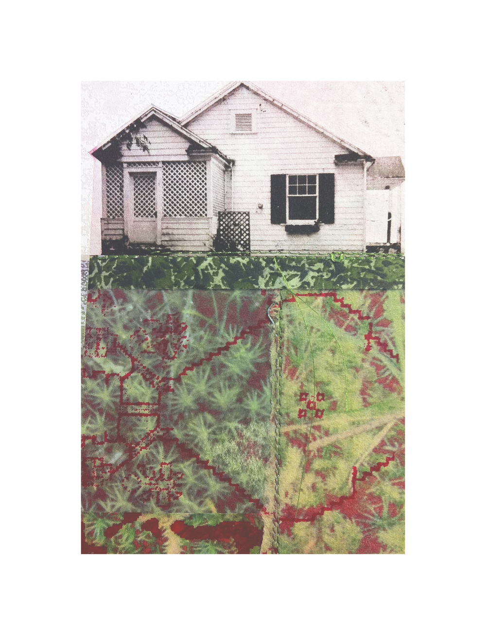 "Lawnside Tapestry 10   Etching, chine colle, screenprint, thread  8"" x 10"", 2013"