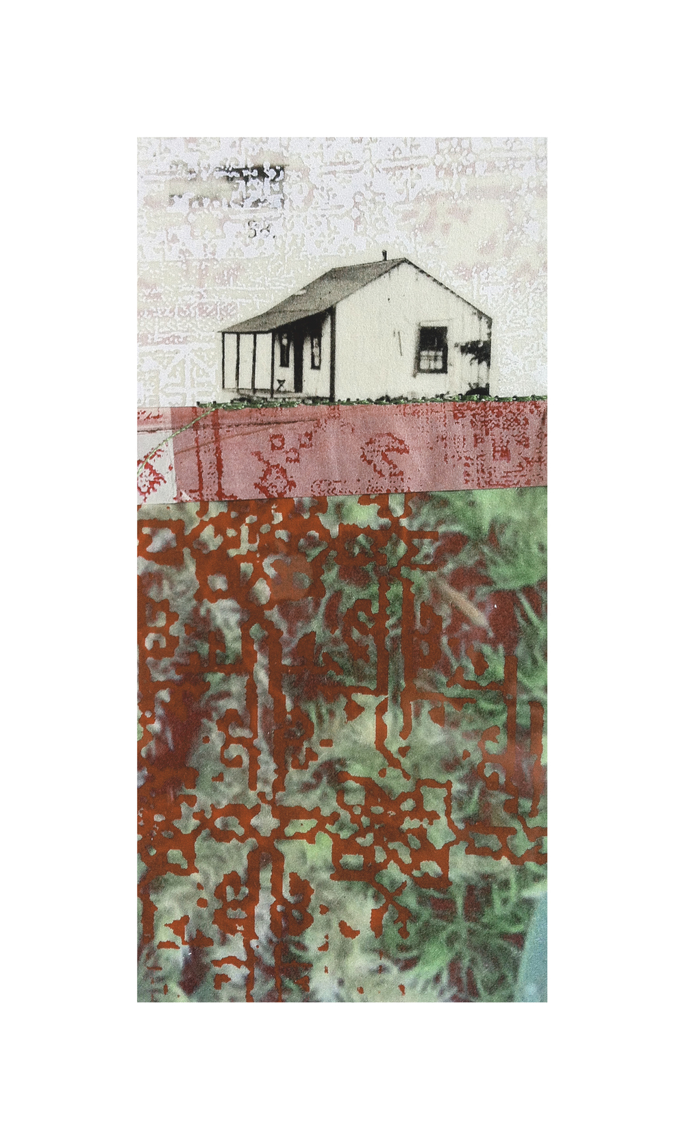 "Lawnside Tapestry 7   Etching, chine colle, screenprint, thread  8"" x 10"", 2013"