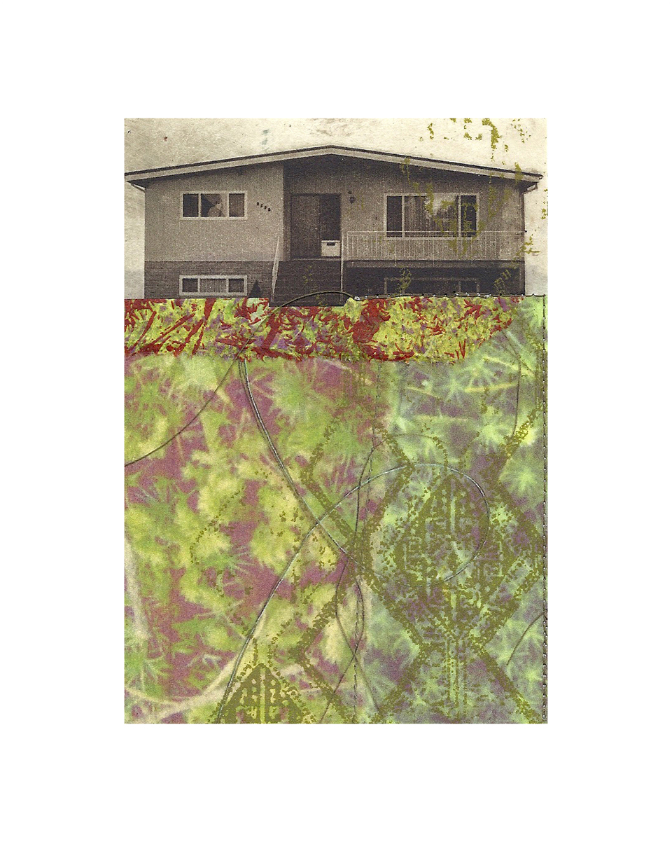 "Lawnside Tapestry 2   Etching, chine colle, giclee, screenprint, thread  8"" x 10"", 2012"
