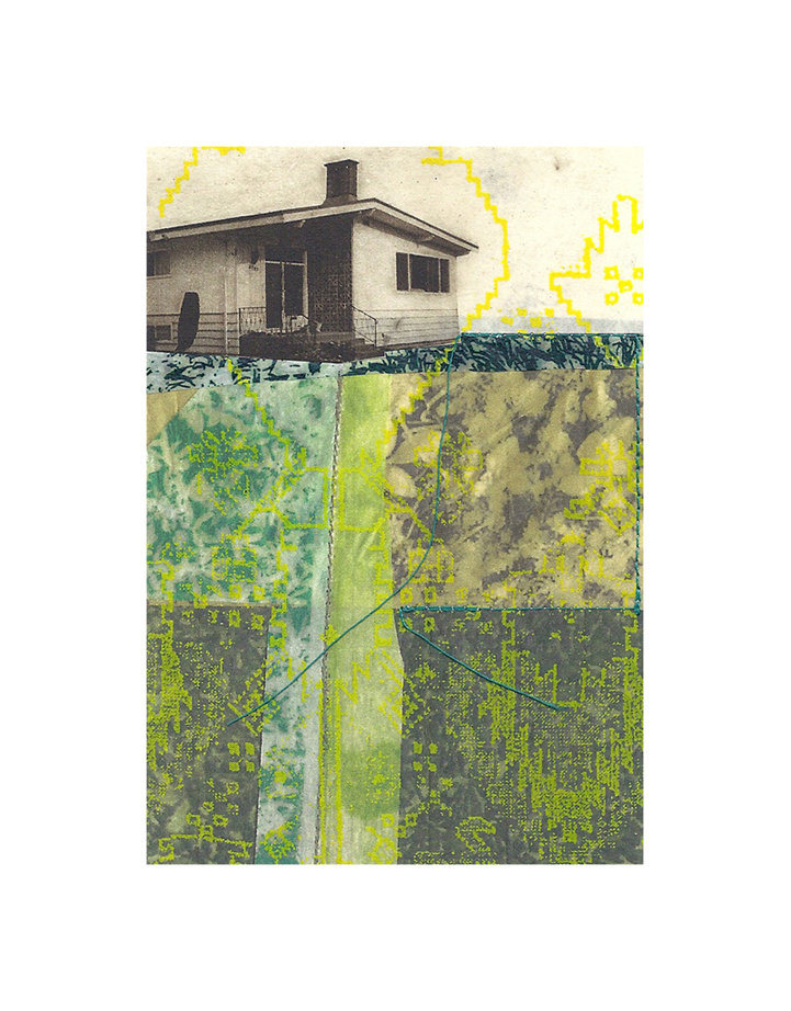 "Lawnside Tapestry 4   Etching, chine colle, giclee, screenprint, thread  8"" x 10"", 2012"