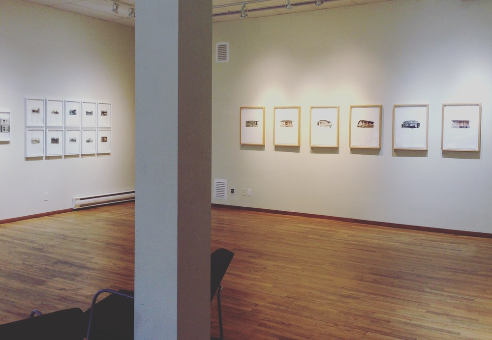Installation shot of the series  Postcards for Freshwater  (left) and  Kintsugi Cabins  (right).