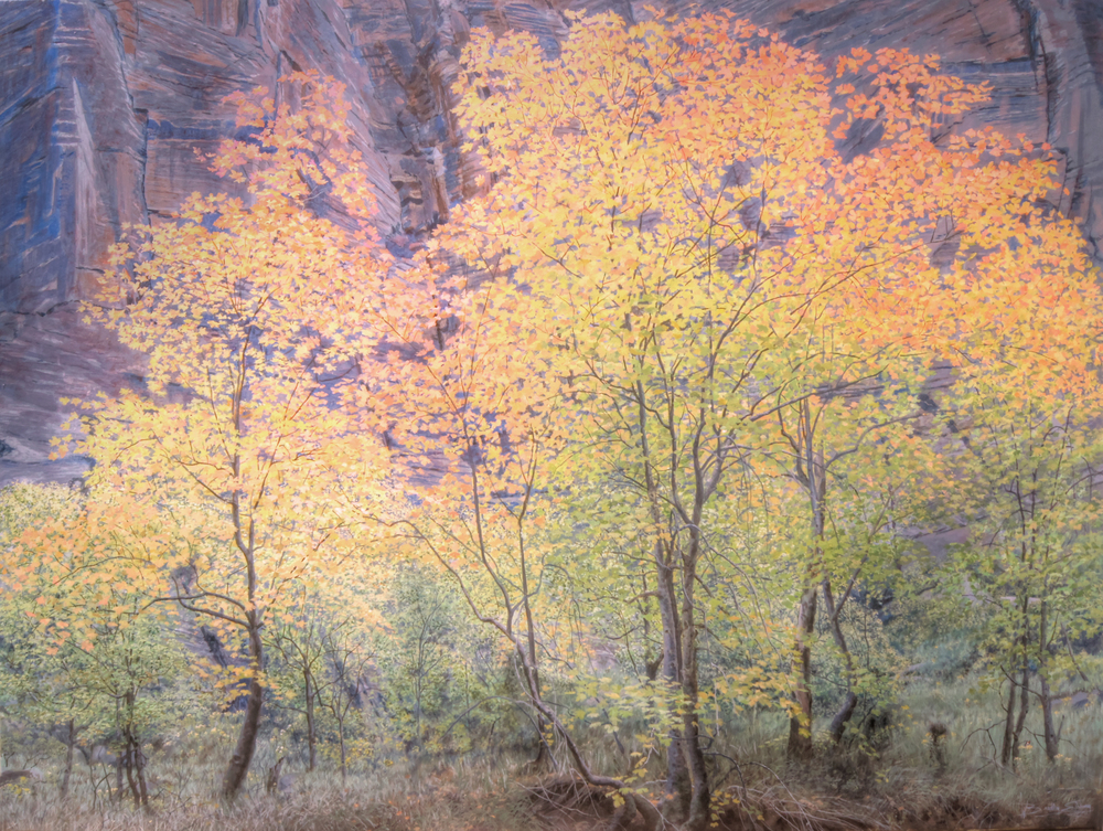 "Alchemy  Maple trees in autumn transition along the Virgin River in Zion National Park.   Original Acrylic painting 36"" by 48"" Just finished last week for this summer's Festival of Arts."
