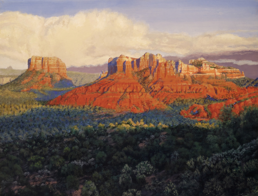 Sedona, the Glow above the Leangthening Shadows