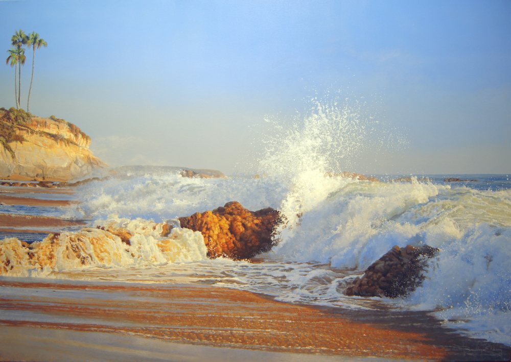 Papou's beach below Heisler Park with Recreation Point in the background here in Laguna Beach CA. The waves were knocking me around on this hot summer day but the shots I got led to a sunlit action filled painting. For me this painting truly captures the moment of being in this wet location that beautiful afternoon.