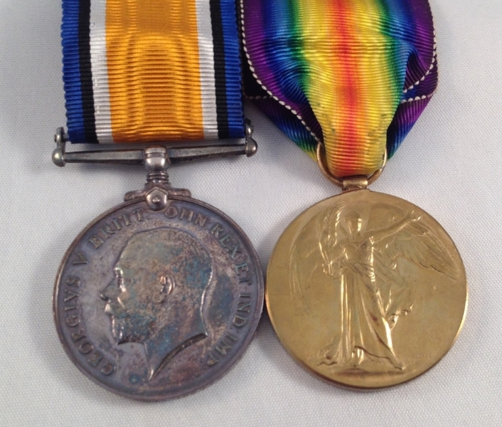 Private Ophir Jarvis was entitled to two medals; the British Victory Medal and the British War Medal.  The two medals above are still owned by the family.