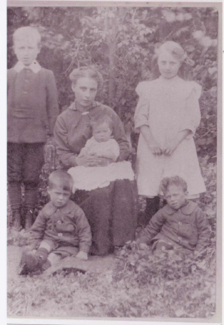 It is believed that the photograph shown is of Lizabeth with the children in around 1915 / 1916.  We are not sure who the older boy on the left is.  Gladys (standing) born 1907, George (sitting right) born 1910, Charles (sitting left) born 1912, Ruth (sitting on mother's lap) born 1915.