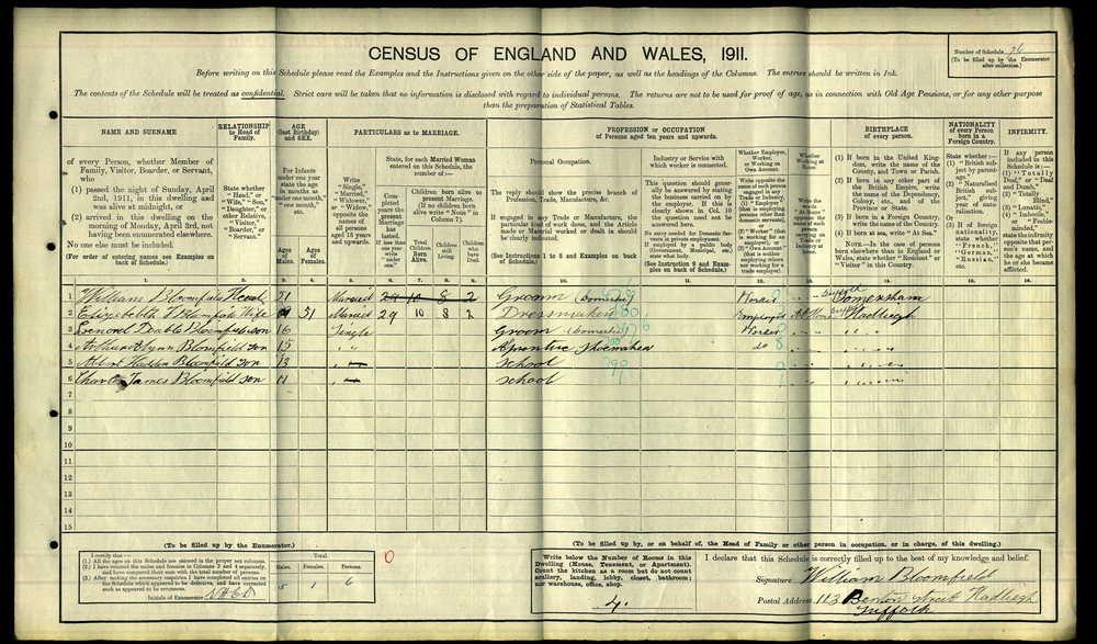 Leonard Bloomfield 1911 Census.jpg
