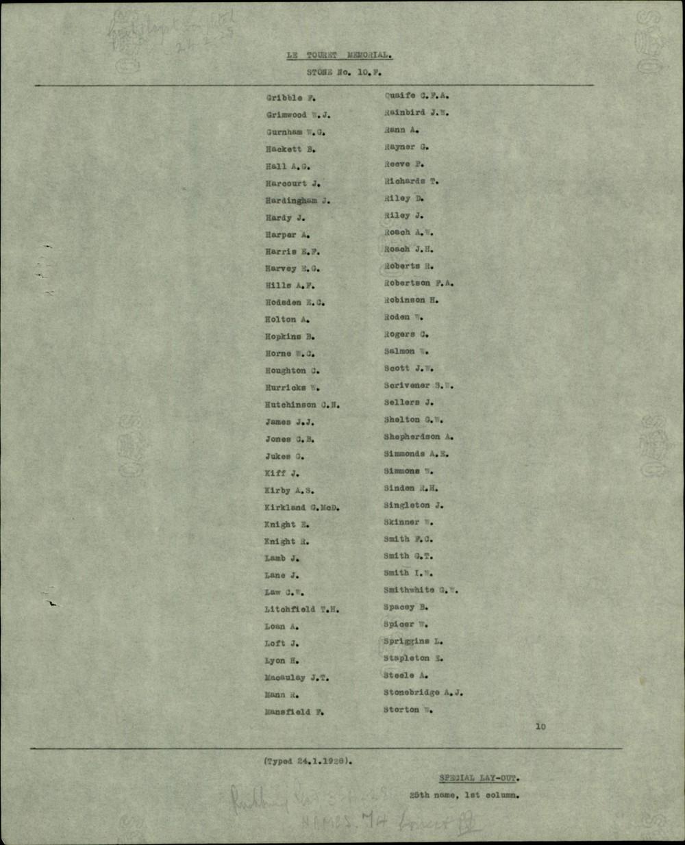 Grimwood William Le Touret memorial panel list.JPG