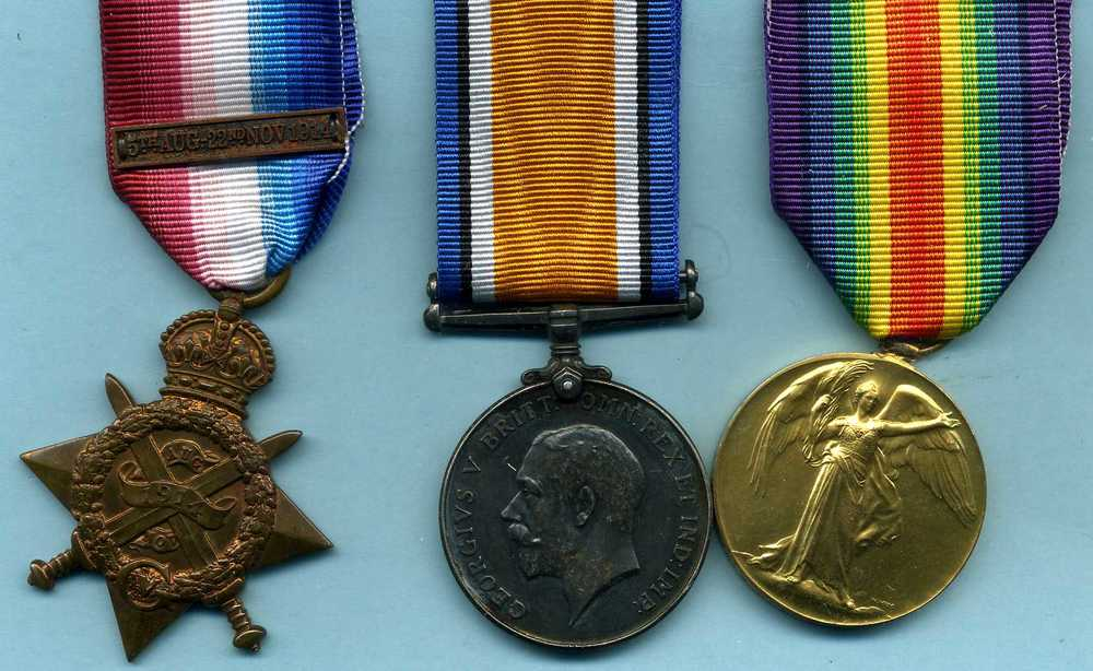 In addition to the King's South Africa medal shown below, Private Balham was entitled to the above three WW1 medals.