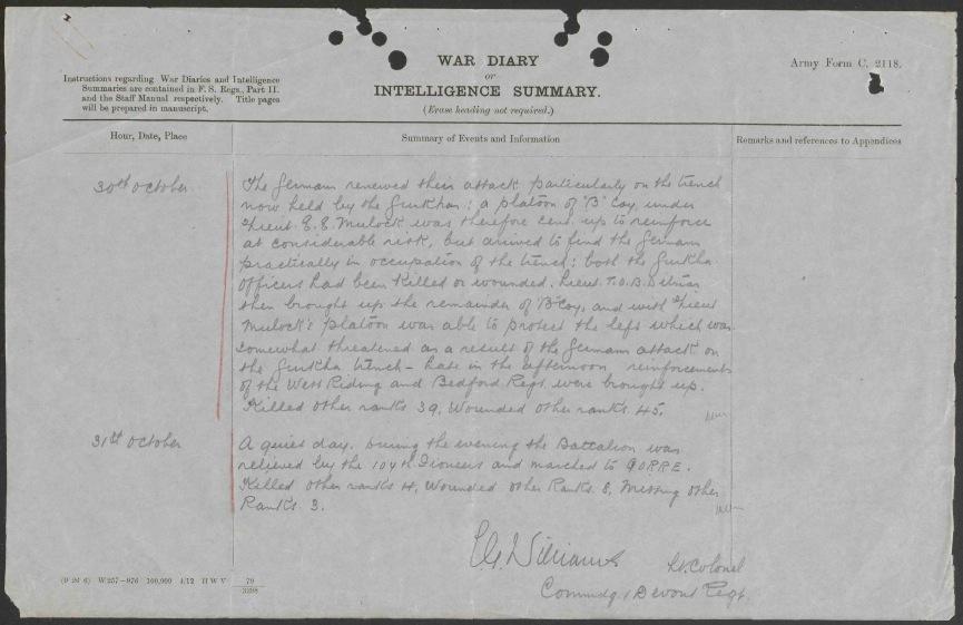31 Oct 14 1st Devons War Diary.jpg
