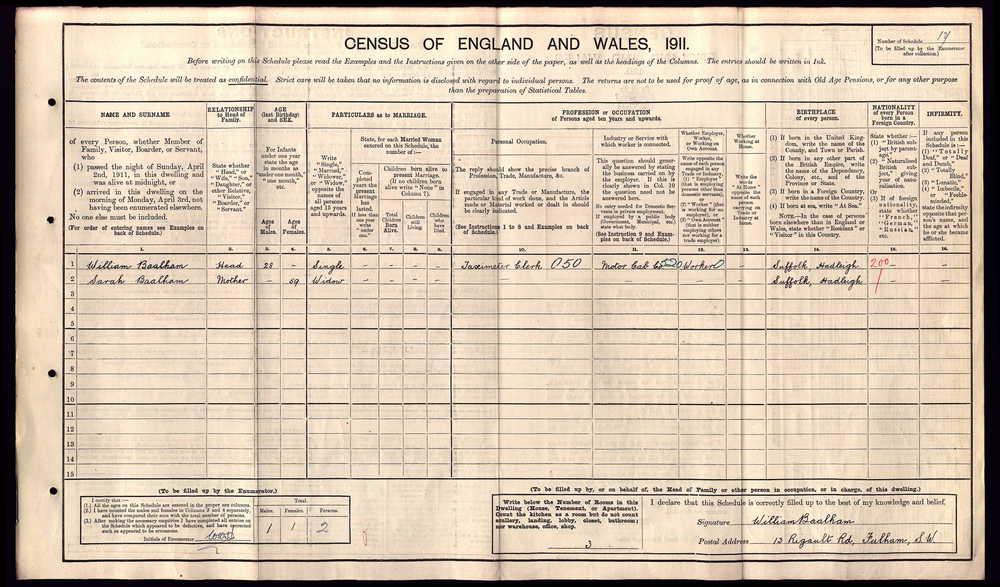 William Walter Baalham 1911 census.jpg