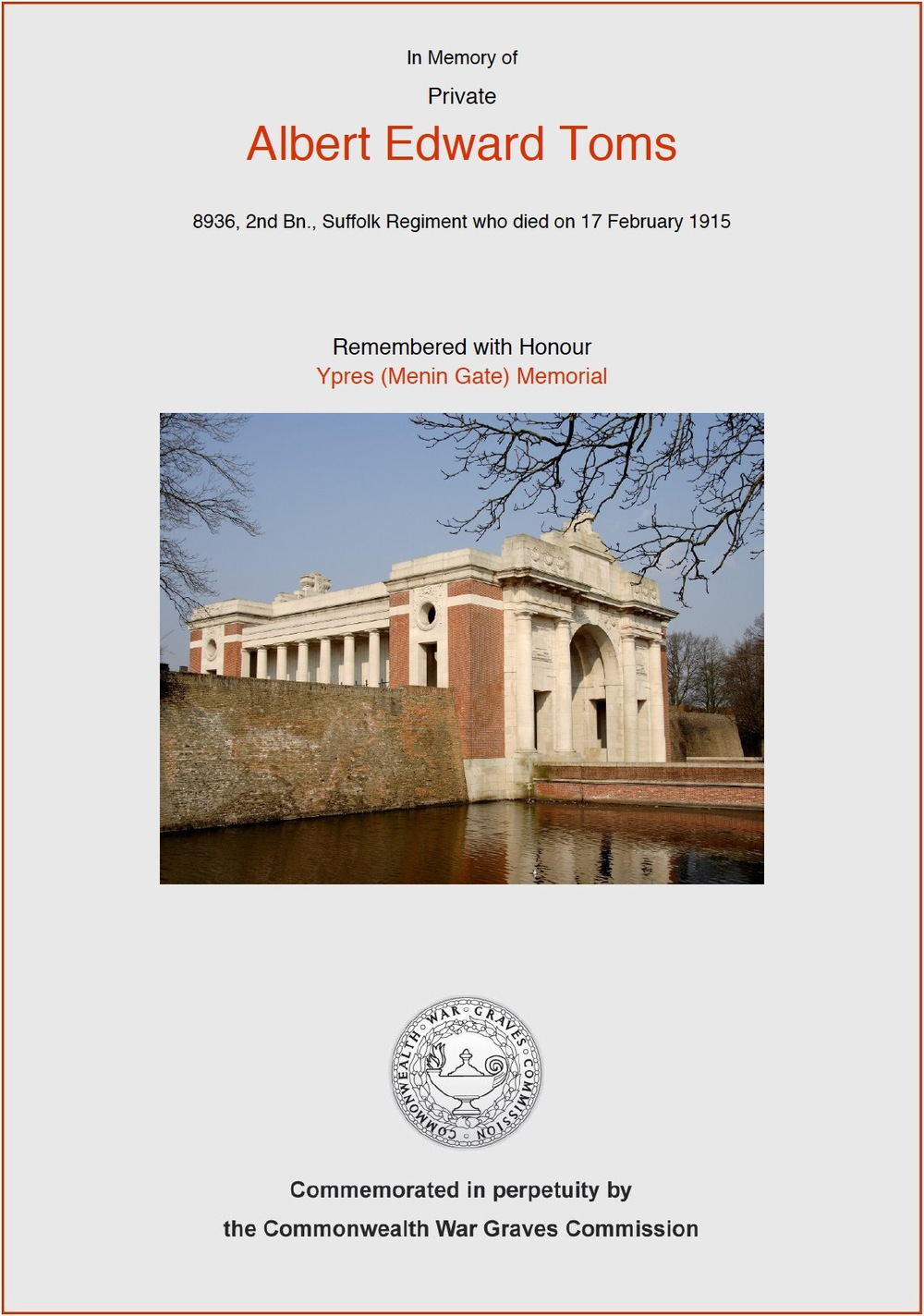 Private Tom's commemorative certificate from the CWGC website