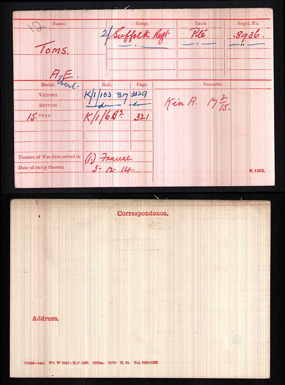 Private Toms' medal card list all three medals shown above