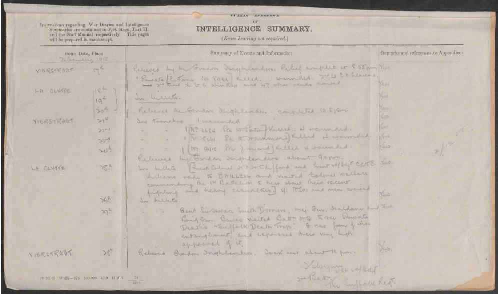 2 Suffolks' War Diary February 1915