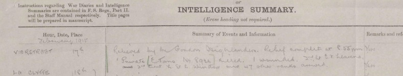 2 Suffolks' War Diary entry for the 17th February 1915