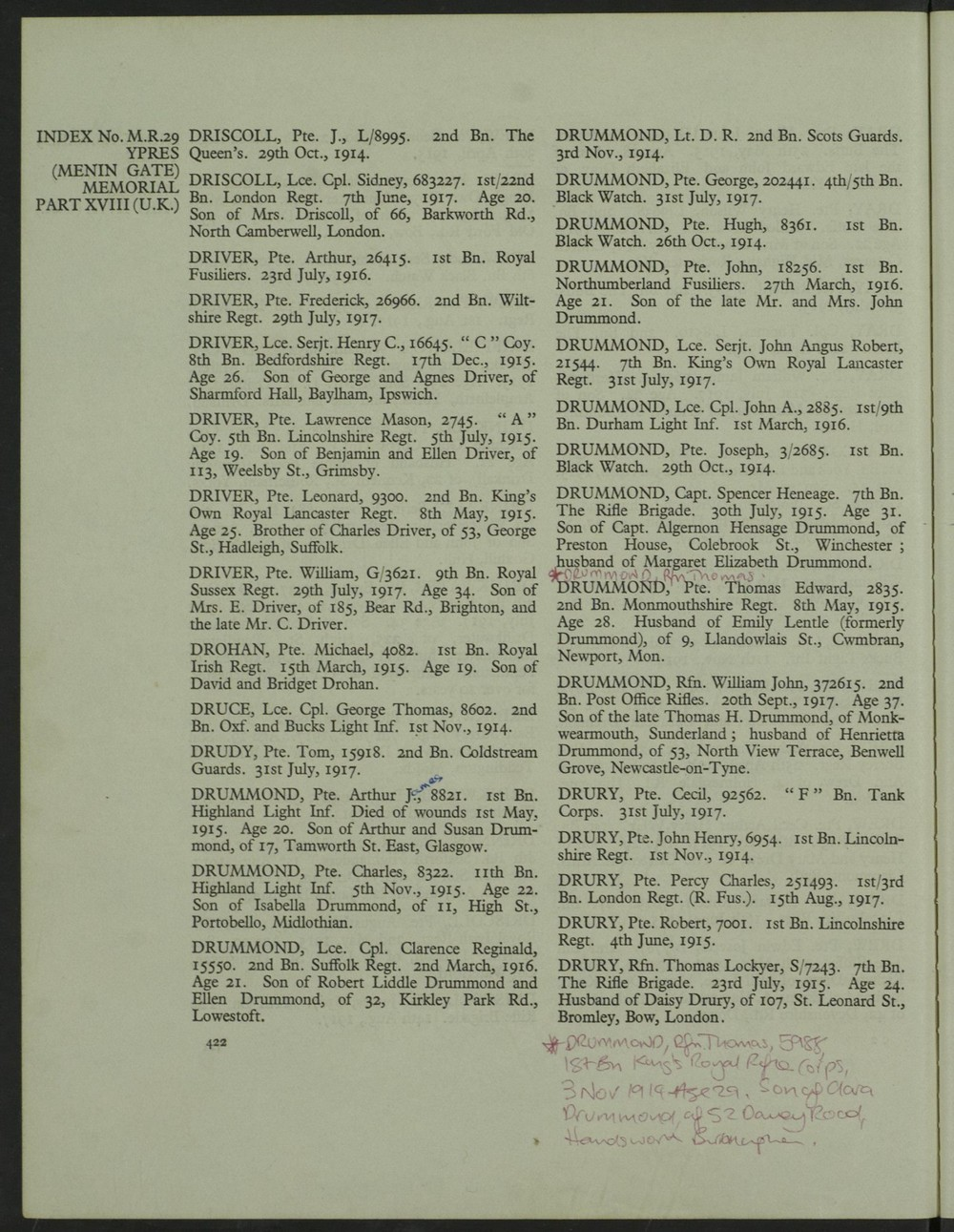 CWGC Leonard Driver graves registration.JPG
