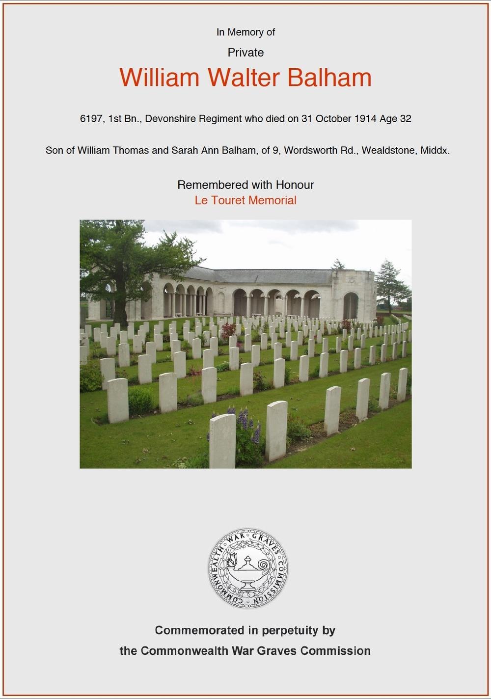 Private Balham's commemorative certificate.