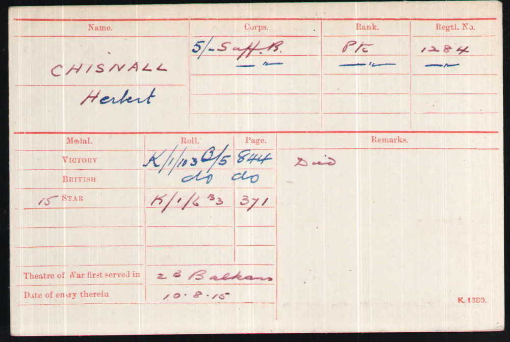 Herbert Chisnall's Medal Index Card